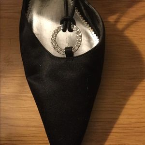 Ladies black satin and clear stone evening shoe